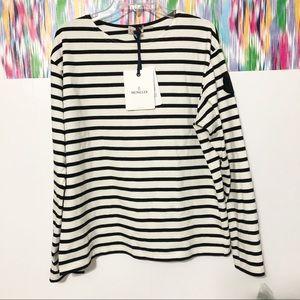 🆕 MONCLER Logo Patch Long Sleeve Stripe Top